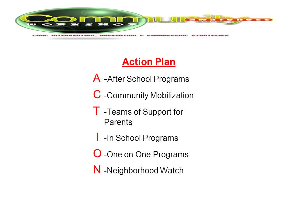 Action Plan A -After School Programs C -Community Mobilization