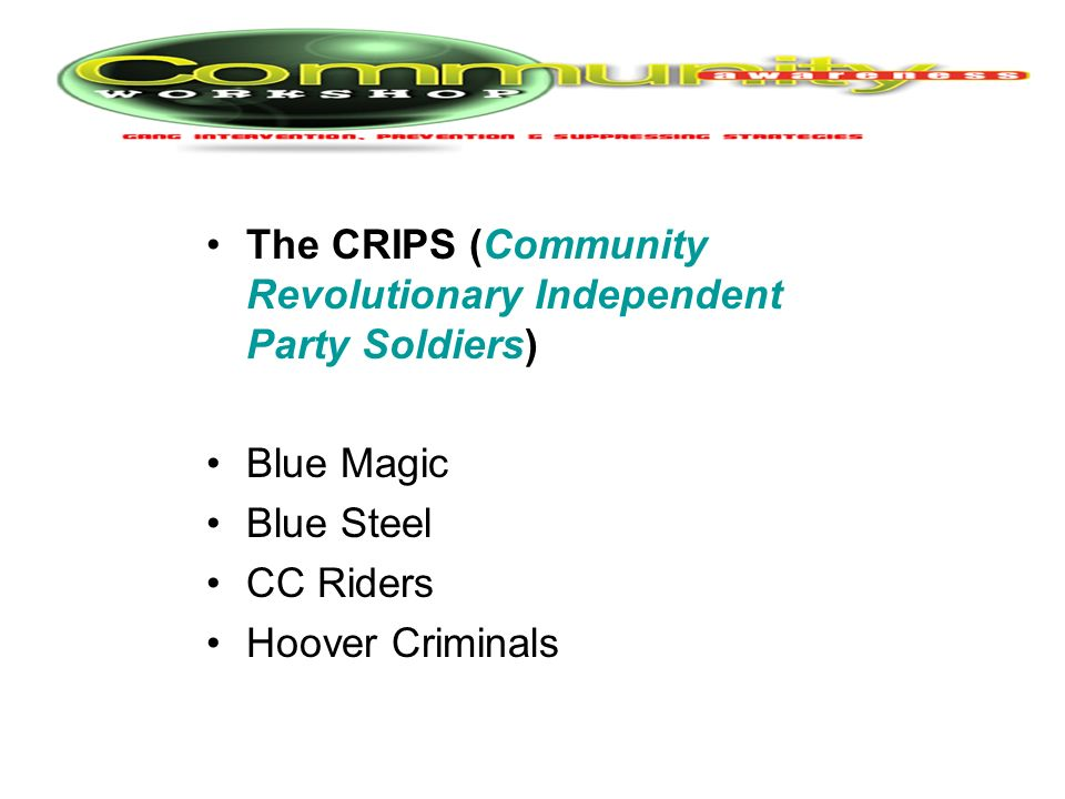 The CRIPS (Community Revolutionary Independent Party Soldiers)