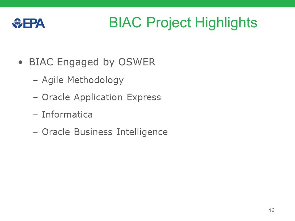 BIAC Project Highlights