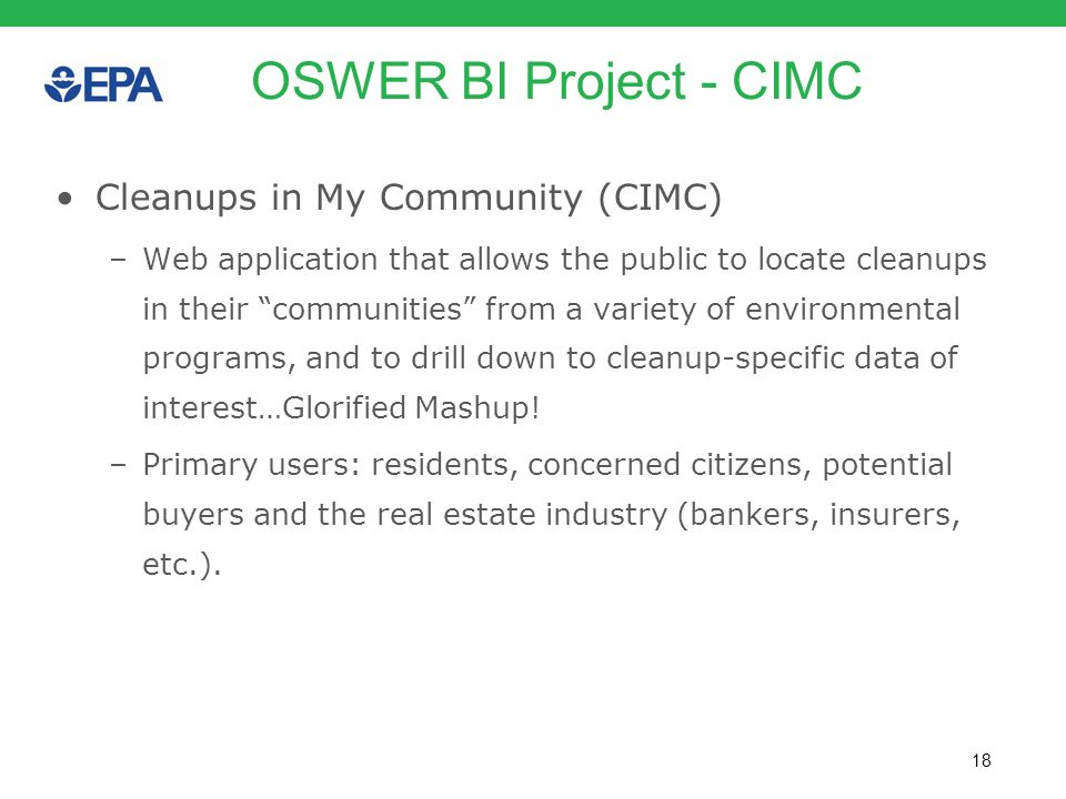 OSWER BI Project - CIMC Cleanups in My Community (CIMC)