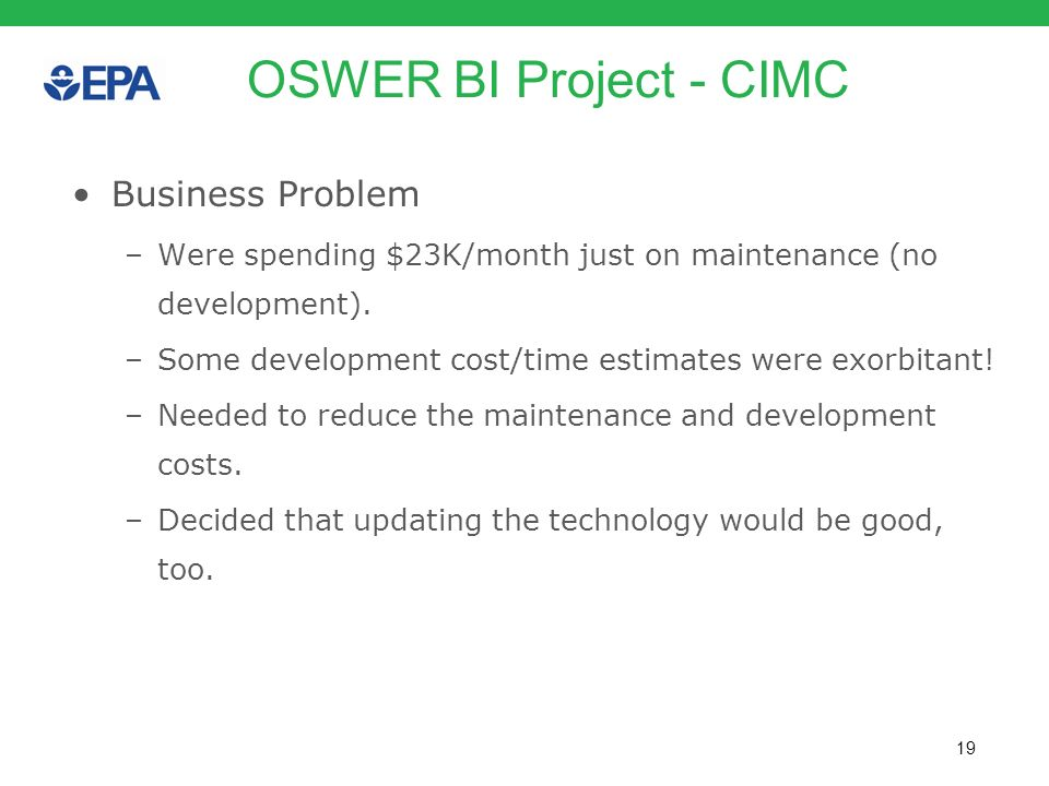 OSWER BI Project - CIMC Business Problem