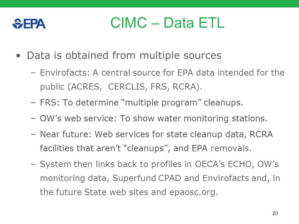 CIMC – Data ETL Data is obtained from multiple sources