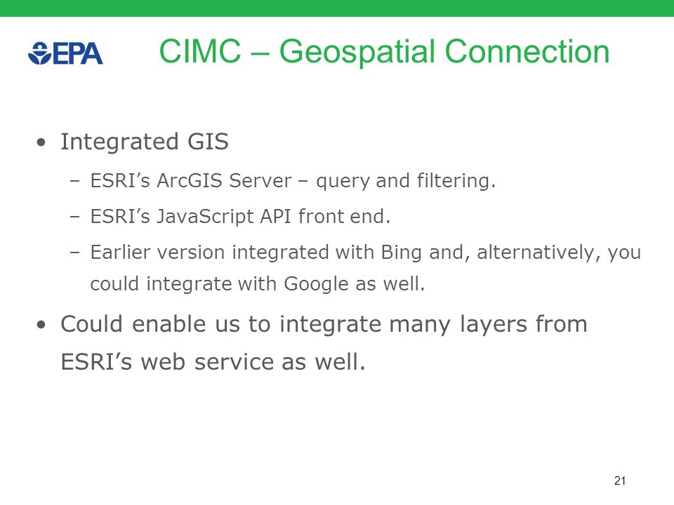 CIMC – Geospatial Connection