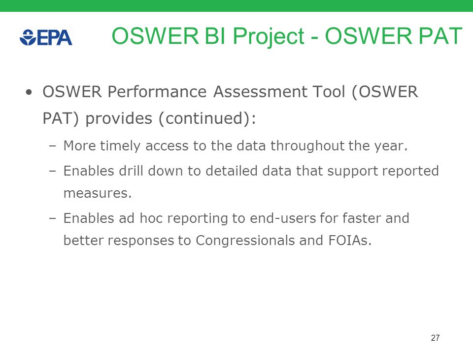 OSWER BI Project - OSWER PAT