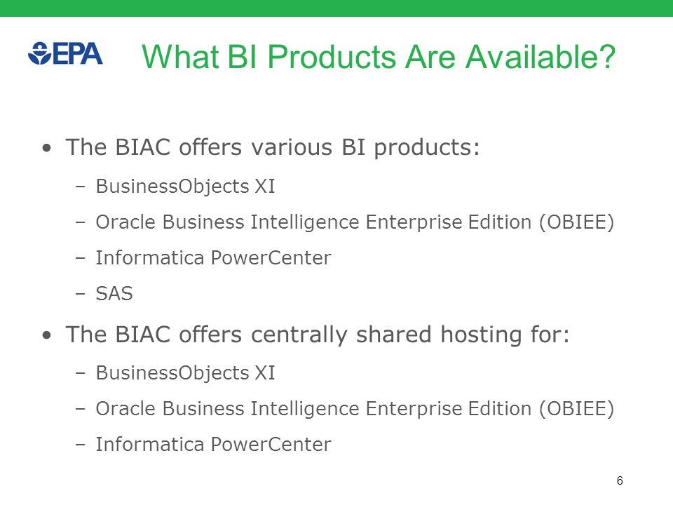 What BI Products Are Available