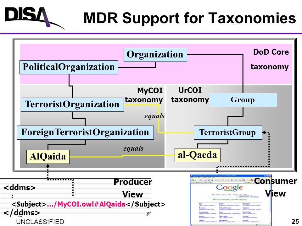 MDR Support for Taxonomies