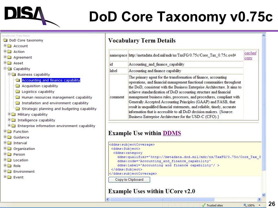 DoD Core Taxonomy v0.75c