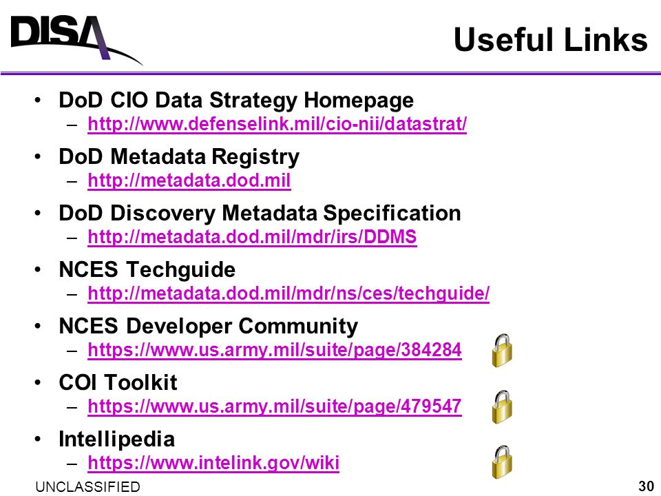 Useful Links DoD CIO Data Strategy Homepage DoD Metadata Registry