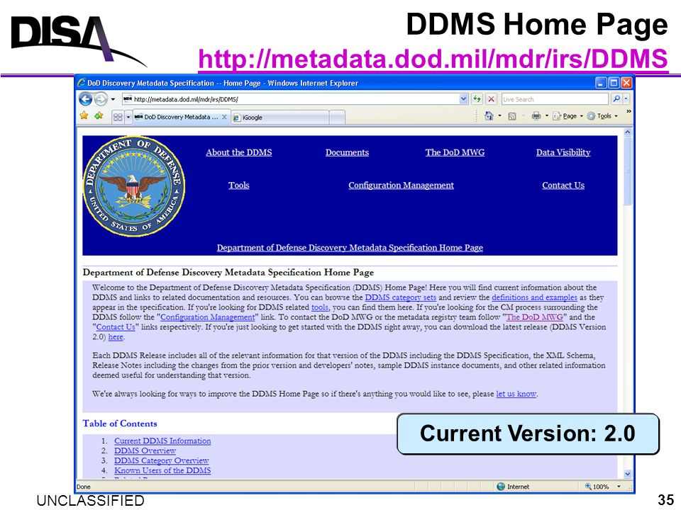 DDMS Home Page http://metadata.dod.mil/mdr/irs/DDMS