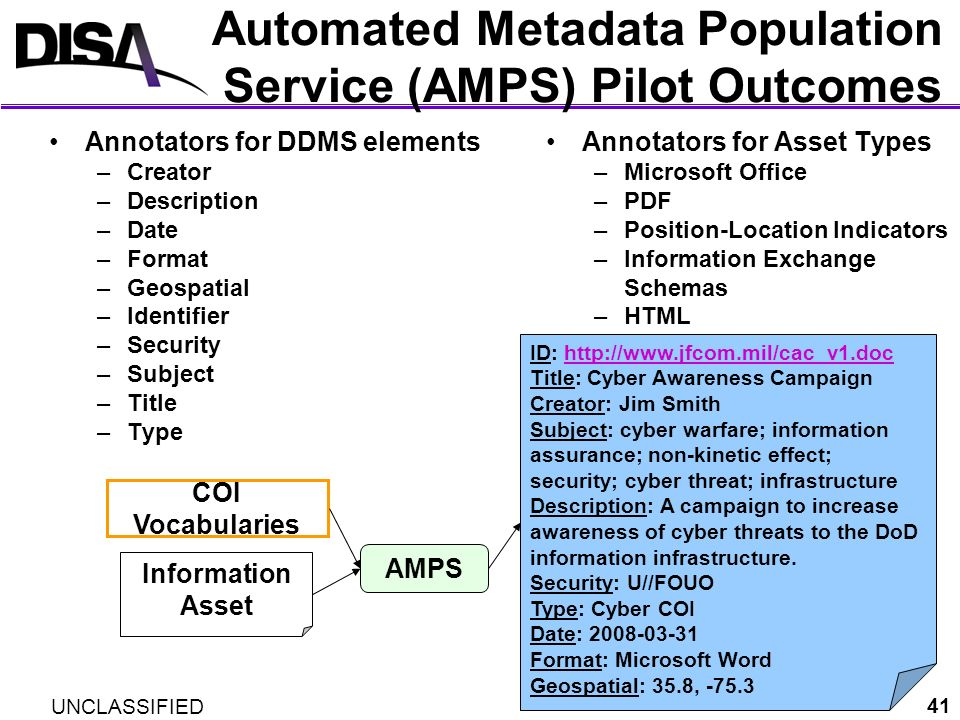 Automated Metadata Population Service (AMPS) Pilot Outcomes