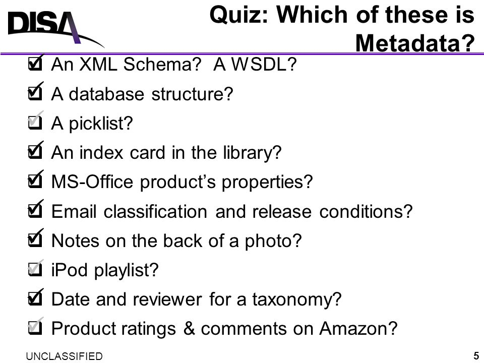 Quiz: Which of these is Metadata