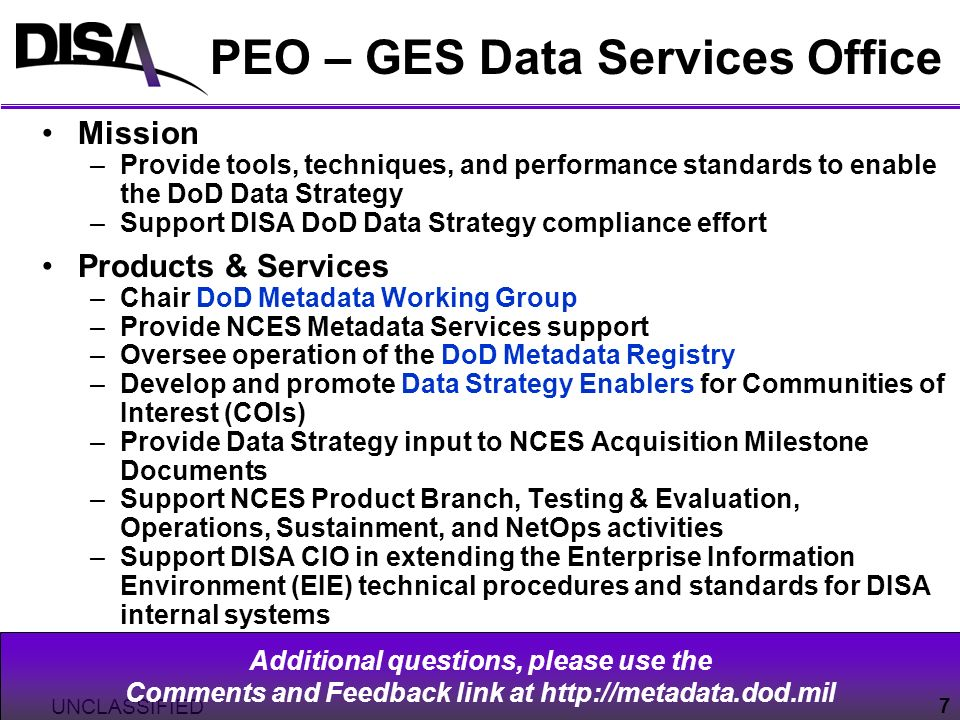 PEO – GES Data Services Office