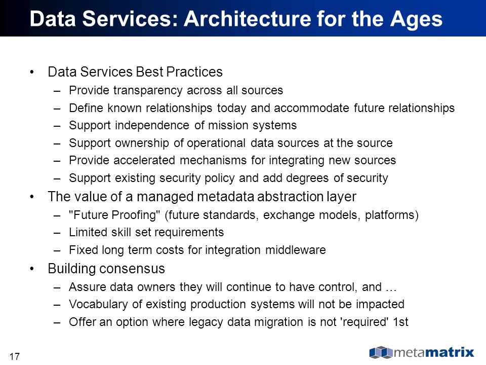 Data Services: Architecture for the Ages