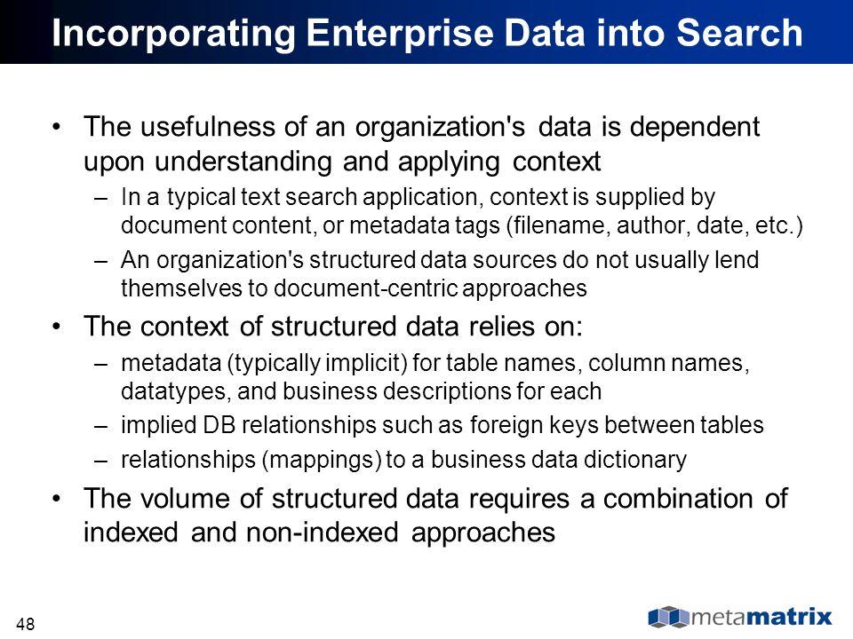 Incorporating Enterprise Data into Search