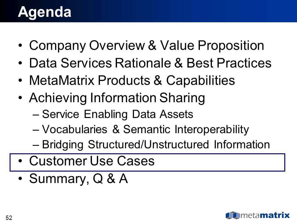 Agenda Company Overview & Value Proposition