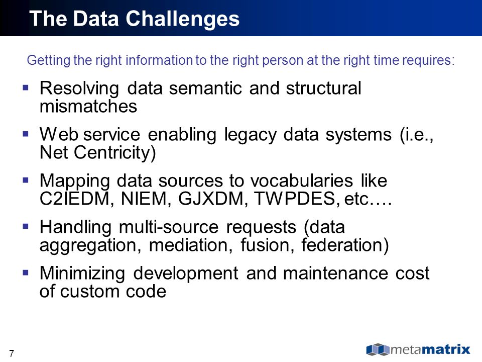The Data Challenges Resolving data semantic and structural mismatches
