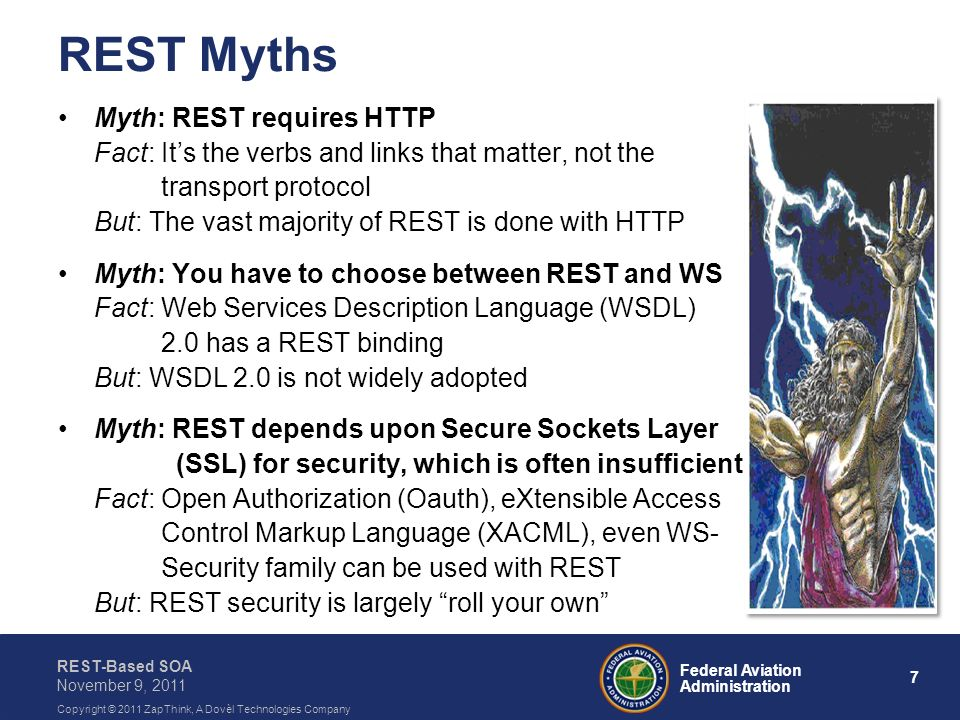 REST Myths Myth: REST requires HTTP