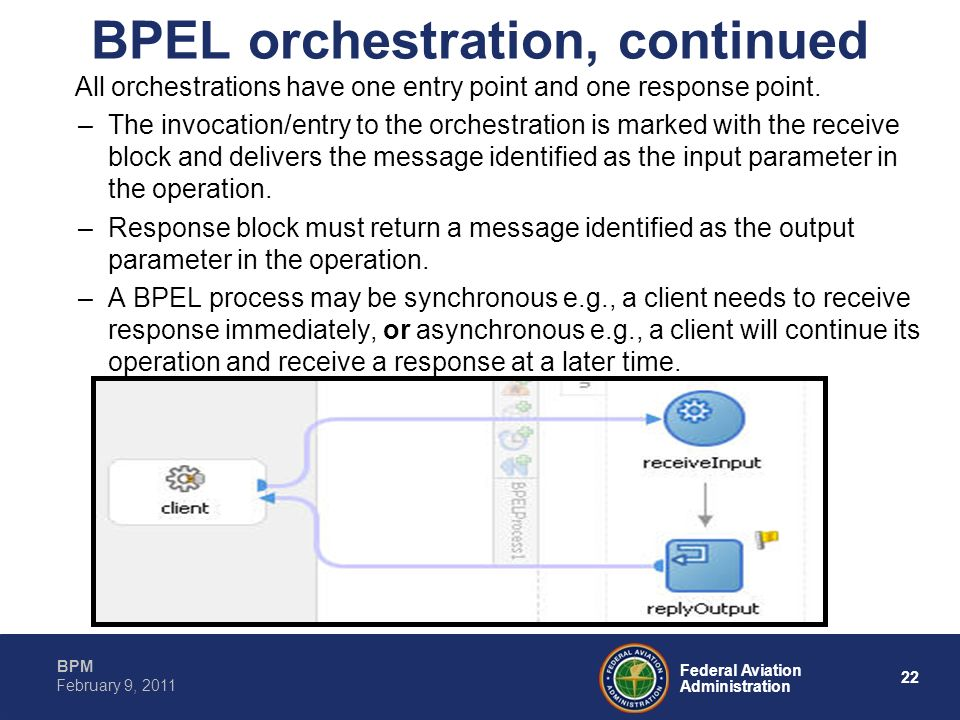 BPEL orchestration, continued