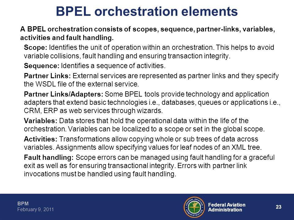BPEL orchestration elements