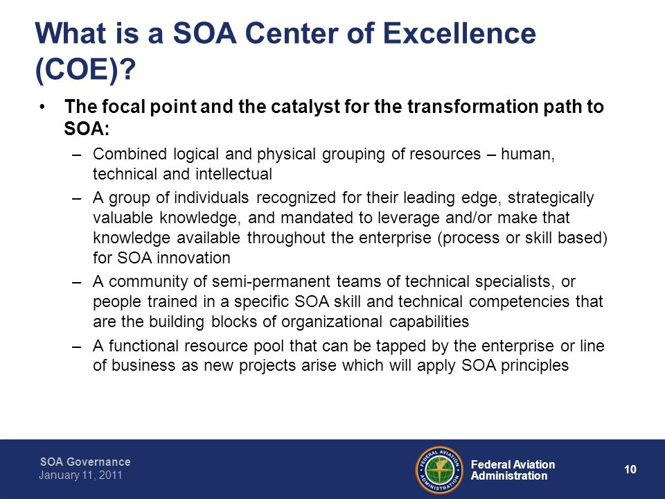 What is a SOA Center of Excellence (COE)
