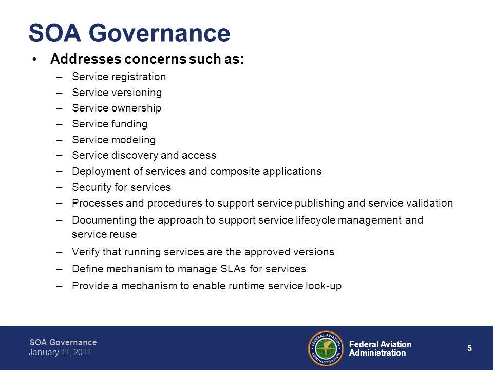 SOA Governance Addresses concerns such as: Service registration