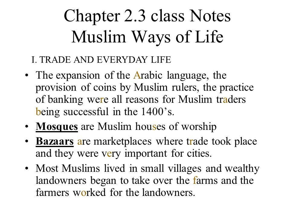 Prominence of Islam: Class Notes Essay Sample