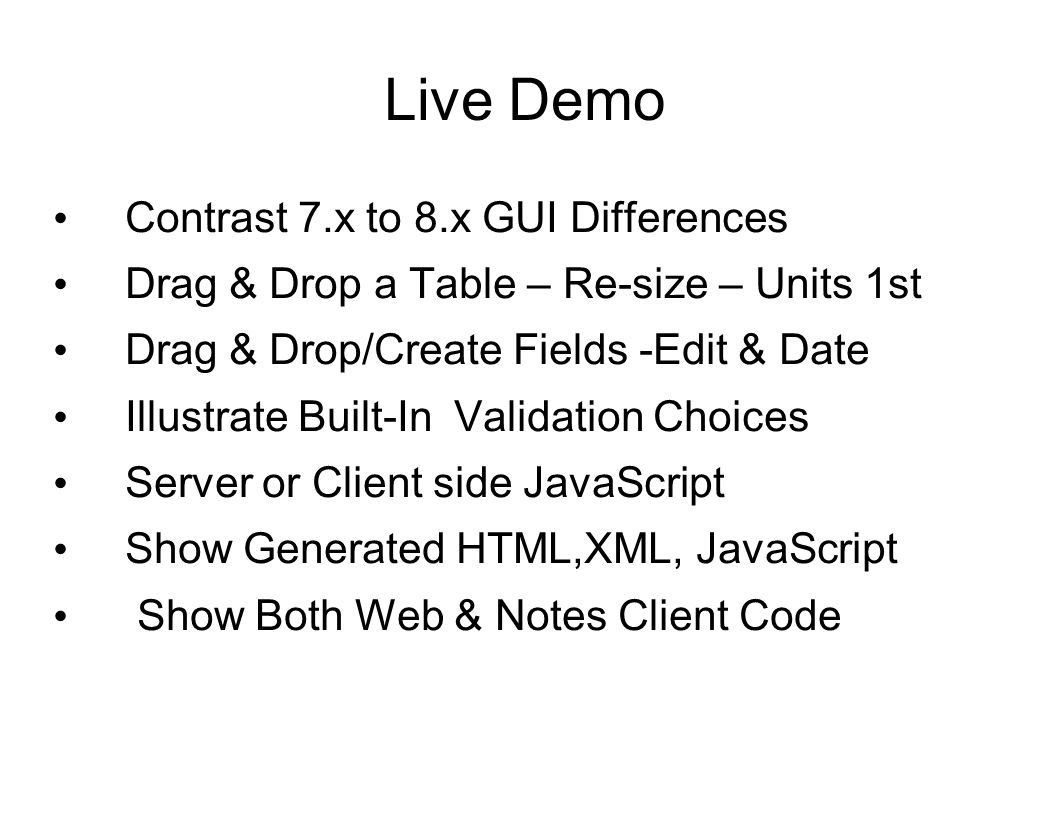 Live Demo Contrast 7.x to 8.x GUI Differences