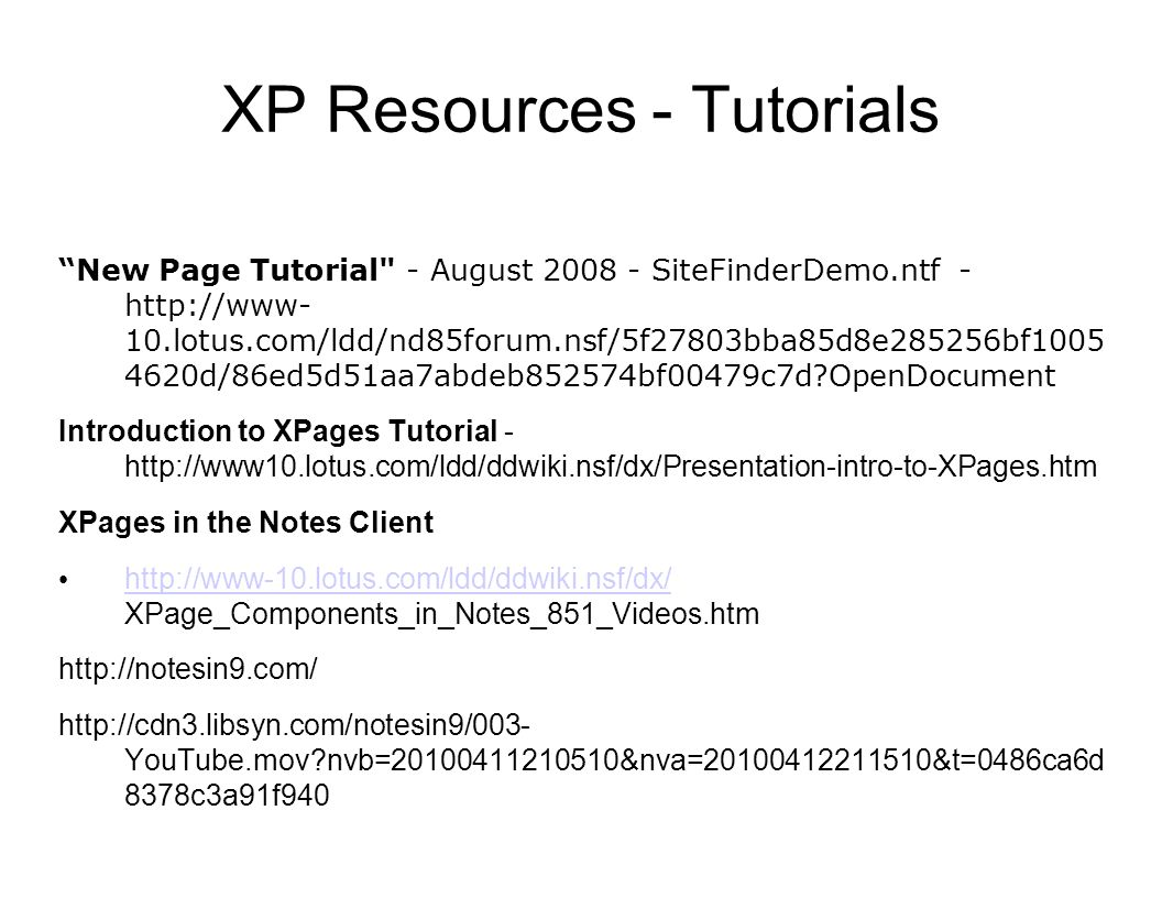 XP Resources - Tutorials