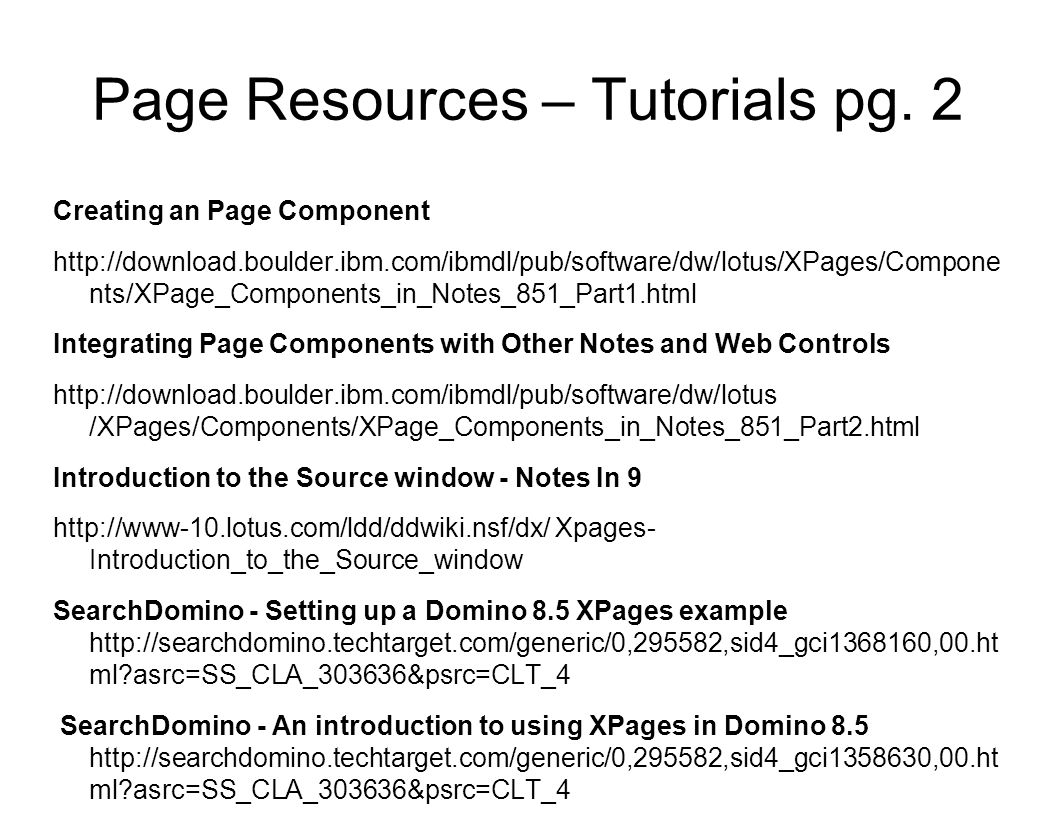 Page Resources – Tutorials pg. 2