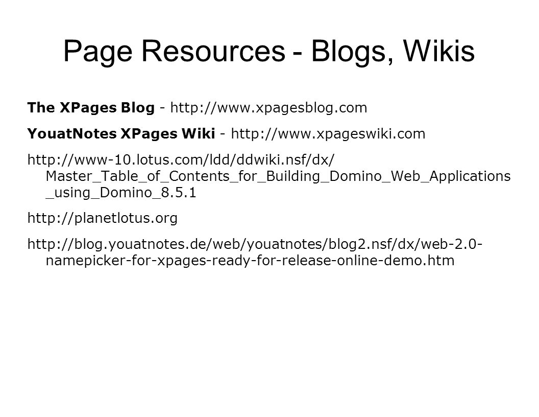 Page Resources - Blogs, Wikis