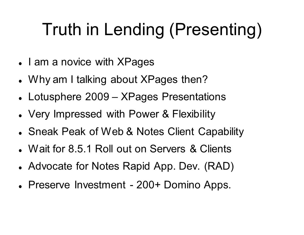 Truth in Lending (Presenting)