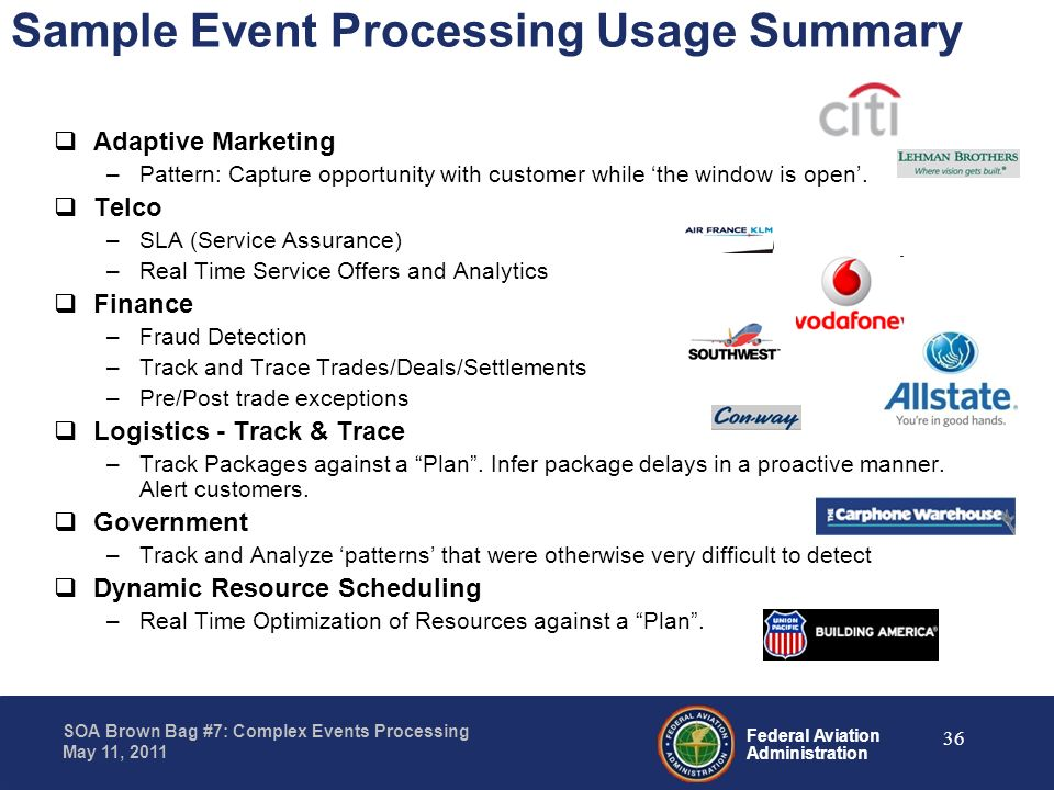 Sample Event Processing Usage Summary