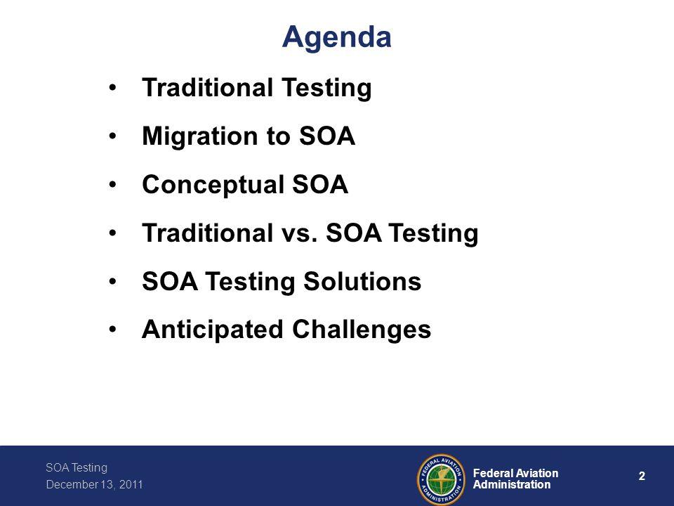 Agenda Traditional Testing Migration to SOA Conceptual SOA