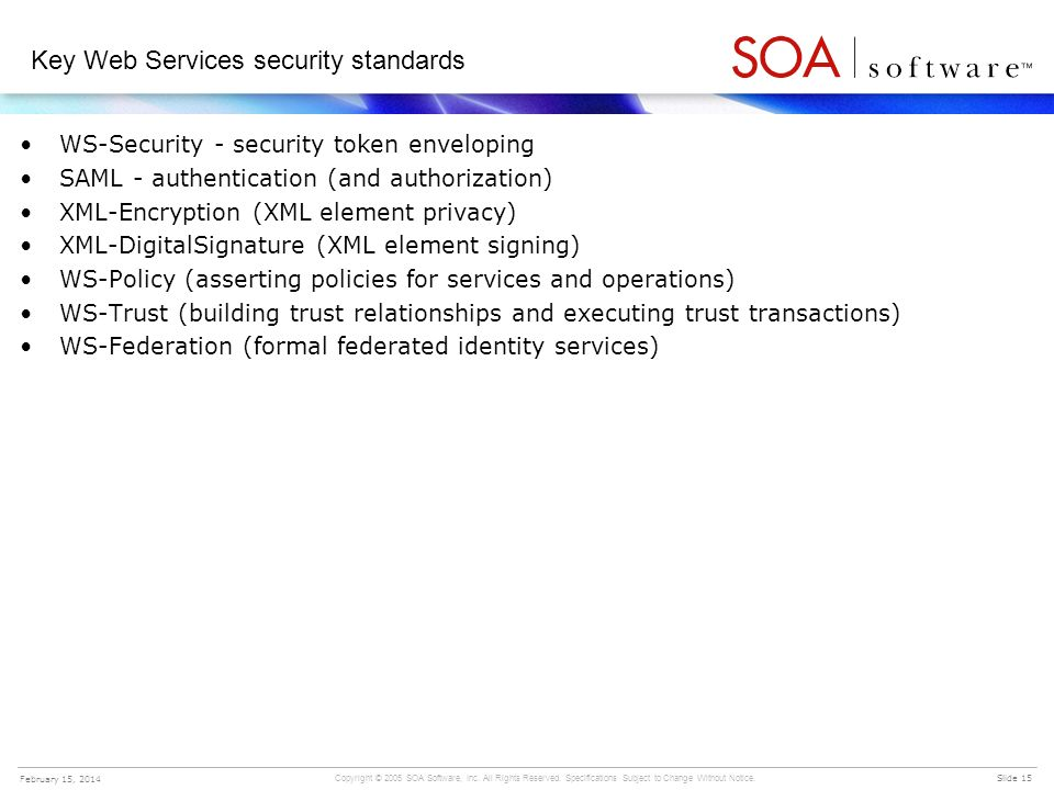 Key Web Services security standards