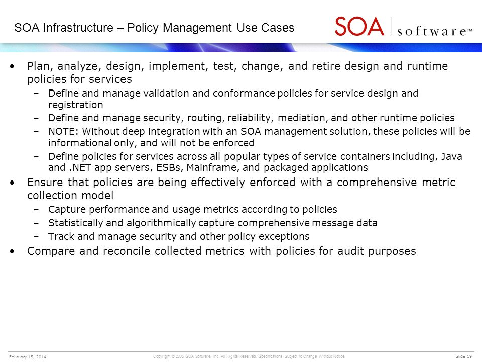 SOA Infrastructure – Policy Management Use Cases