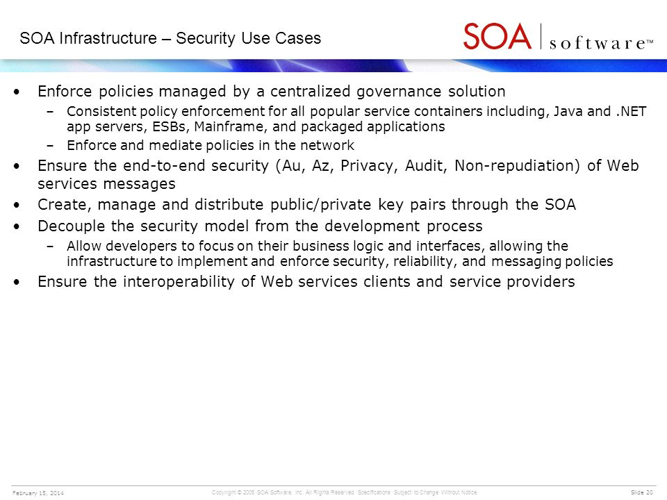 SOA Infrastructure – Security Use Cases