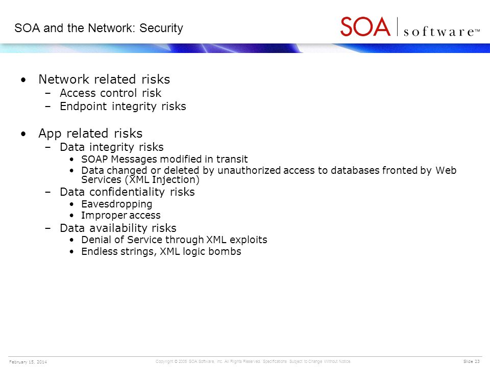 SOA and the Network: Security