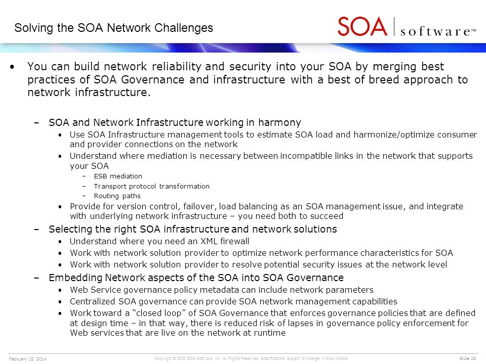 Solving the SOA Network Challenges