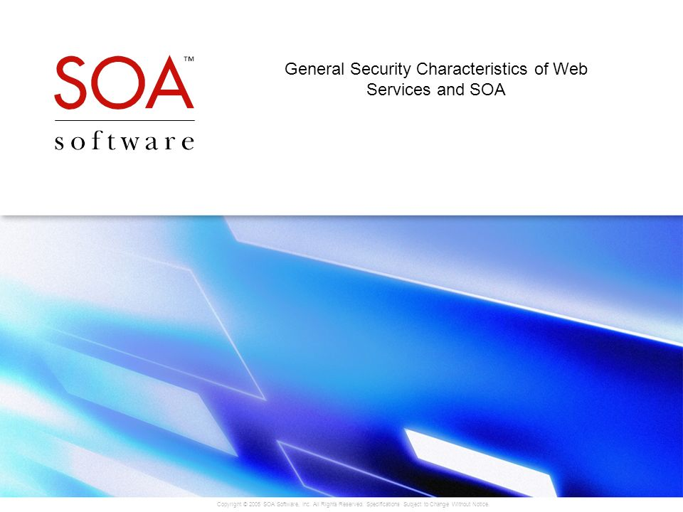 General Security Characteristics of Web Services and SOA