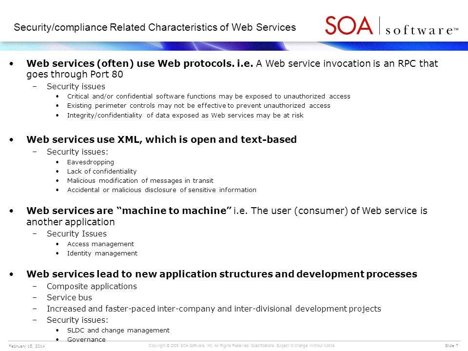 Security/compliance Related Characteristics of Web Services