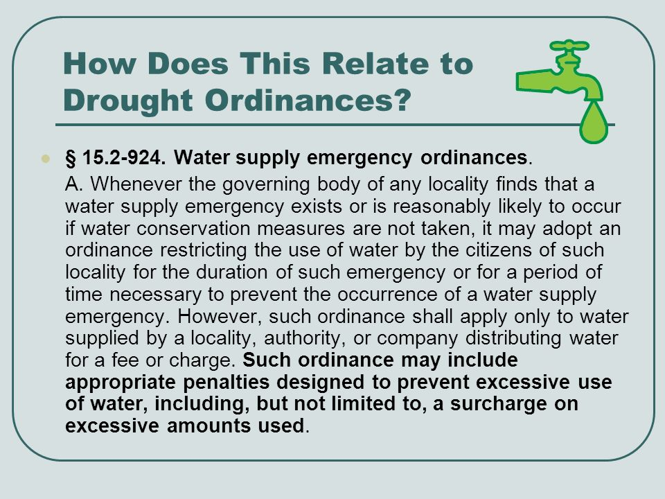 How Does This Relate to Drought Ordinances