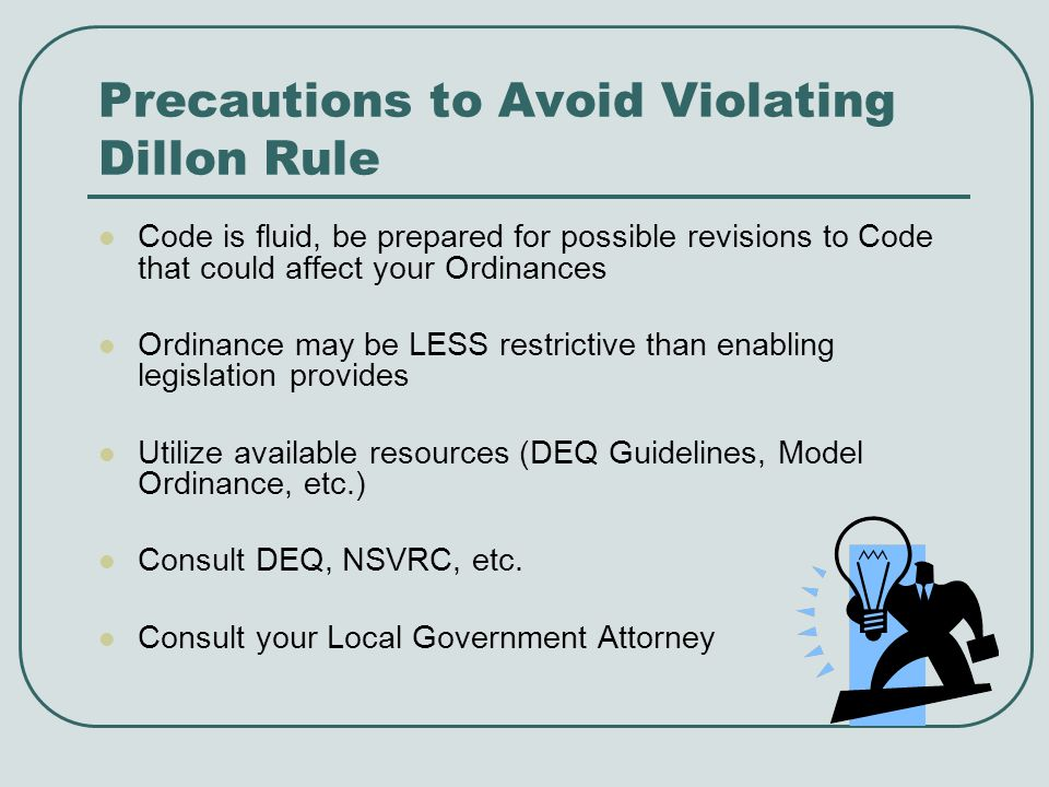 Precautions to Avoid Violating Dillon Rule