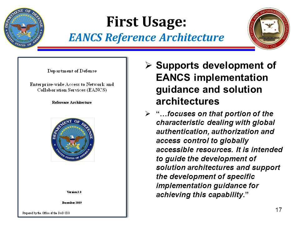 First Usage: EANCS Reference Architecture