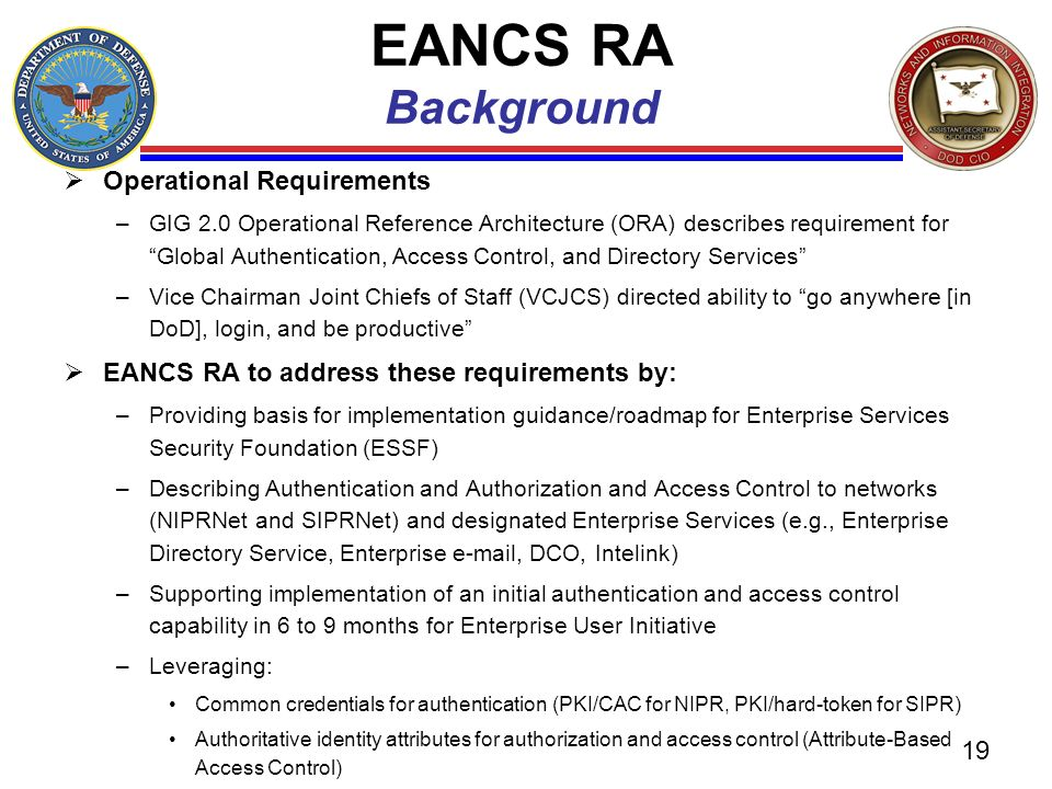 EANCS RA Background Operational Requirements