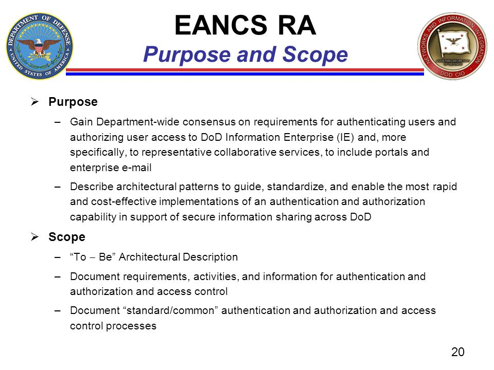EANCS RA Purpose and Scope