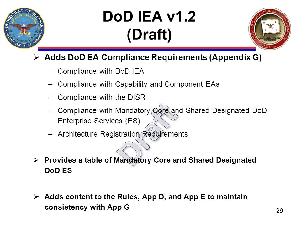 DoD IEA v1.2 (Draft) Adds DoD EA Compliance Requirements (Appendix G) Compliance with DoD IEA. Compliance with Capability and Component EAs.