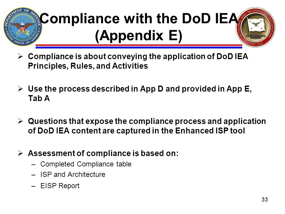 Compliance with the DoD IEA (Appendix E)