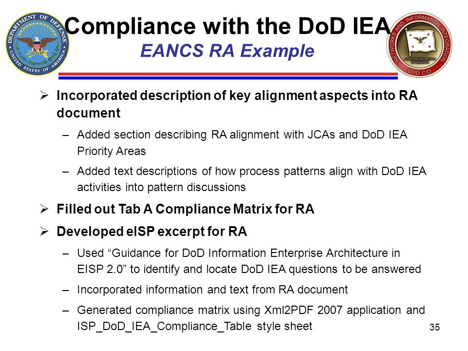 Compliance with the DoD IEA EANCS RA Example