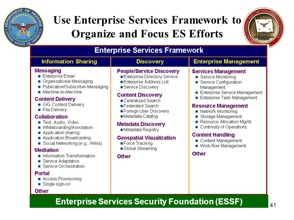 Use Enterprise Services Framework to Organize and Focus ES Efforts