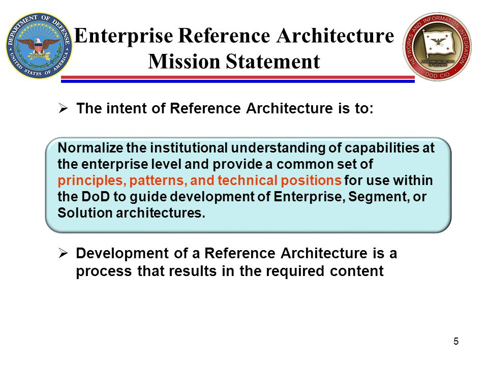 Enterprise Reference Architecture Mission Statement